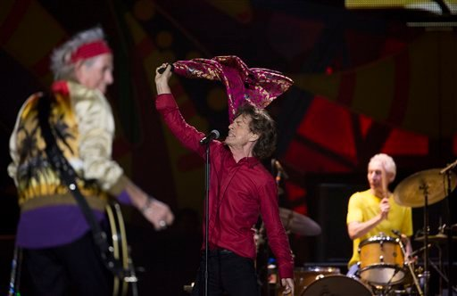 FILE - In this Feb. 20, 2016, file photo, The Rolling Stones' Mick Jagger, Keith Richards, left, and Charlie Watts perform during their Latin America tour, at the Maracana stadium in Rio de Janeiro, Brazil.