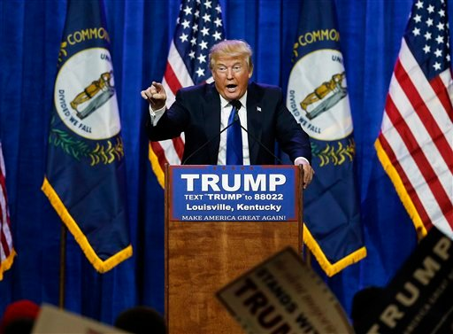 Republican presidential candidate Donald Trump speaks during a rally Tuesday, March 1, 2016, in Louisville, Ky. (AP Photo/John Bazemore)