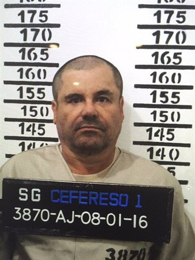 "FILE - In this Jan. 8, 2016, file image released by Mexico's federal government, Mexico's most wanted drug lord, Joaquin ""El Chapo"" Guzman, stands for his prison mug shot with the inmate number 3870 at the Altiplano maximum security federal prison in Almo"