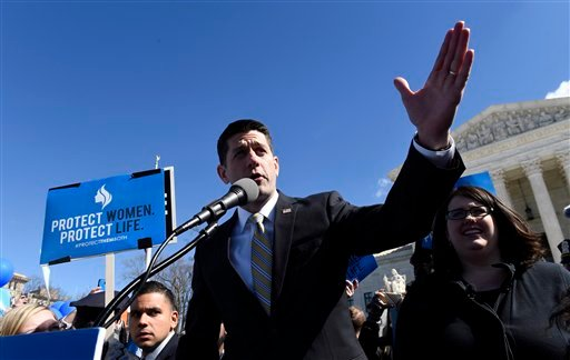 House Speaker Paul Ryan of Wis. speaks outside the Supreme Court in Washington, Wednesday, March 2, 2016, as the abortion debate returned to the Supreme Court in the midst of a raucous presidential campaign and less than three weeks after Justice Antonin
