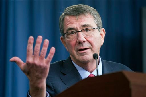 In this Jan. 28, 2016 file photo, Defense Secretary Ash Carter gestures during a news conference at the Pentagon. The Pentagon is looking for a few good computer hackers. Screened high-tech specialists will be brought in to try to breach the Defense Depar