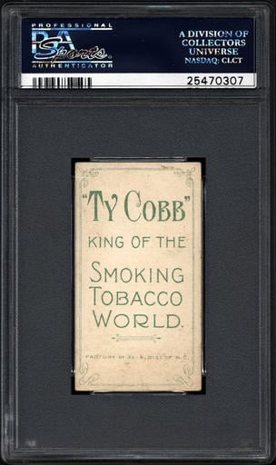This undated photo provided by Professional Sports Authenticator shows the back of one of seven Ty Cobb baseball cards, a baseball-card find of a lifetime, that were found crumpled paper bag in a dilapidated house.