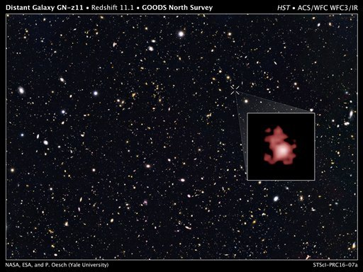 This image provided by the Space Telescope Science Institute, taken with the Hubble Space Telescope, shows a hot, star-popping galaxy that is far, far away, farther than any previously detected, from a time when the universe was a mere toddler of about 40