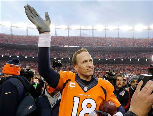In this Jan. 24, 2016, file photo, Denver Broncos quarterback Peyton Manning waves to spectators following the AFC Championship game between the Denver Broncos and the New England Patriots, in Denver.