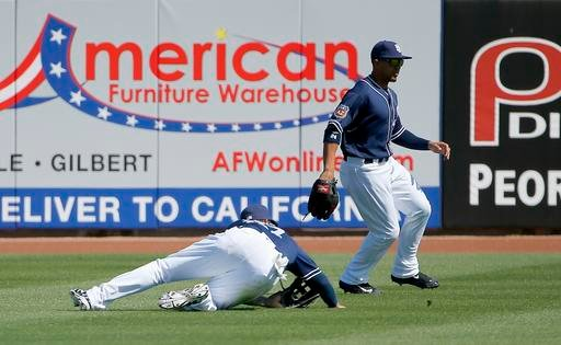 San Diego Padres' Matt Kemp, left, is unable to make a catch on a ball hit by Arizona Diamondbacks' A.J. Pollock as Padres' Jon Jay, right, arrives to get the baseball during the second inning of a spring training baseball game.