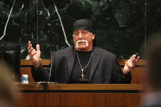 Hulk Hogan, whose given name is Terry Bollea,testifies in court on Tuesday, March 8, 2016, during his trial against Gawker Media, in St Petersburg, Fla.