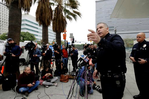 Los Angeles Police Capt. Andy Neiman takes questions from reporters during a new conference at police headquarters in downtown Los Angeles on Friday, March 4, 2016.