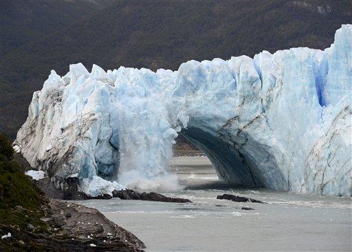 Chunks of ice break off the Perito Moreno Glacier, in Lake Argentina, at Los Glaciares National Park, near El Calafate, in Argentina's Patagonia region, Thursday, March 10, 2016. The massive natural monument in the province of Santa Cruz periodically adva