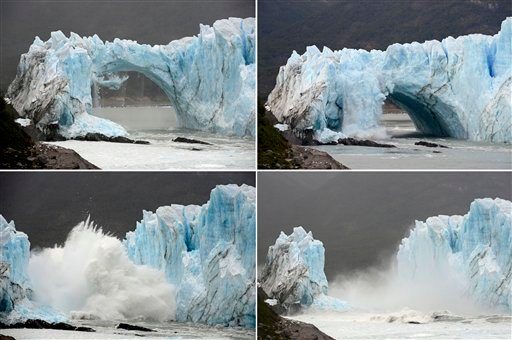 This four photo sequence combo shows chunks of ice breaking off the Perito Moreno Glacier, in Lake Argentina, at Los Glaciares National Park, near El Calafate, in Argentina's Patagonia region, Thursday, March 10, 2016. The massive natural monument in the