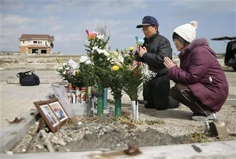 Japan on Friday marked the fifth anniversary of the 2011 tsunami that killed more than 18,000 people and left a devastated coastline along the country's northeast that has still not been fully rebuild. (Hironori Asakawa/Kyodo News via AP)