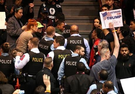 Trump canceled one of his signature rallies on Friday, calling off the event in Chicago due to safety concerns after protesters packed into the arena where it was to take place. (Chris Sweda/Chicago Tribune via AP)