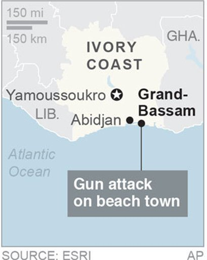 Map locates Grand-Bassam, Ivory Coast, where gunfire has been reported; 1c x 2 inches; 46.5 mm x 50 mm