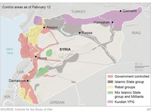 Map locates the areas of control in Syria; 3c x 4 1/2 inches; 146 mm x 114 mm