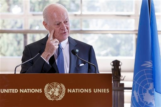 UN Special Envoy of the Secretary-General for Syria Staffan de Mistura briefs the media after a round of negotiations between the Syrian government and U.N., at the European headquarters of the United Nations in Geneva, Switzerland, Monday, March 14, 2016