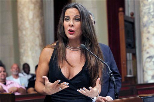 In this Aug. 15, 2014 file photo, actress Kate Del Castillo speaks during a news conference in City Council chambers in Los Angeles.