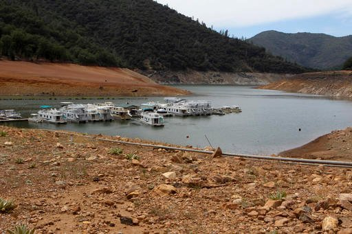In this July 22, 2015 file photo, low water levels are seen at Lake Shasta near Redding, Calif.