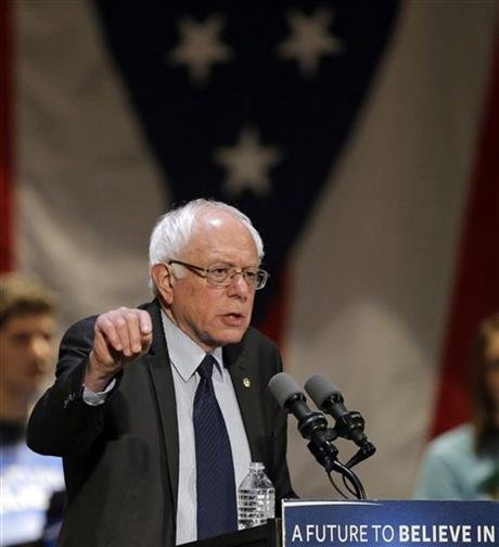 Democratic presidential candidate, Sen. Bernie Sanders, I-Vt., speaks at a campaign rally at the Akron Civic Theatre, Monday, March 14, 2016, in Akron, Ohio. (AP Photo/Tony Dejak)