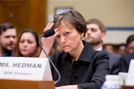 Former State EPA administrator Susan Hedman appears to testify before the House Oversight and Government Reform Committee, in Washington, Tuesday, March 15, 2016. (AP Photo/Andrew Harnik)