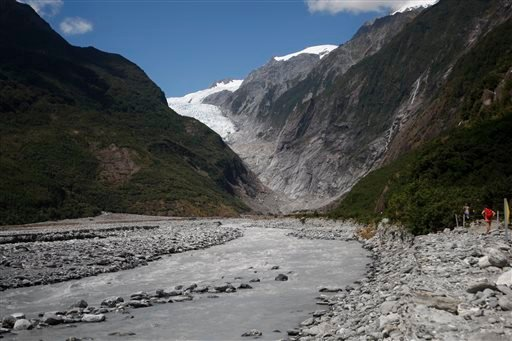 This Feb. 7, 2016 photo shows the Franz Josef Glacier in New Zealand. The Fox and Franz Josef glaciers have been melting at such a rapid rate that it has become too dangerous for tourists to hike onto them from the valley floor, ending a tradition that da