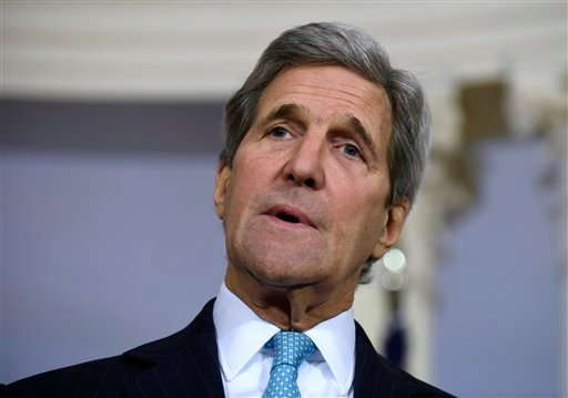 FIL - In this March 9, 2016, file photo, Secretary of State John Kerry speaks to reporters at the State Department in Washington.
