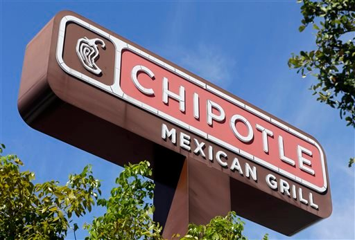"Feb. 8, 2016, photo, shows the sign of a Chipotle restaurant in Hialeah, Fla. Chipotle is using free burrito offers to combat the ""eerie"" look of empty stores and convince people it's safe to return. (AP Photo/Alan Diaz)"