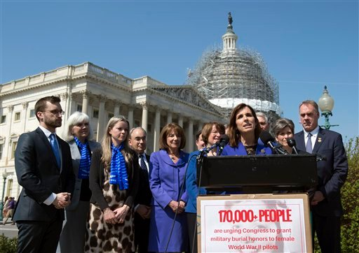 Rep. Martha McSally, R-Ariz., speaks during an event on the reinstatement of WWII female pilots at Arlington National Cemetery on Capitol Hill in Washington, Wednesday, March 16, 2016. Joining the effort are Terry Harmon, second from left, daughter of WWI