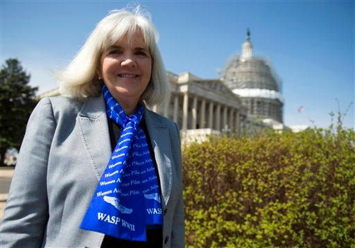 Terry Harmon, daughter of WWII veteran WASP (Women Airforce Service Pilots), Elaine Harmon, speaks to reporters after an event with members of congress on the reinstatement of WWII female pilots at Arlington National Cemetery on Capitol Hill in Washington