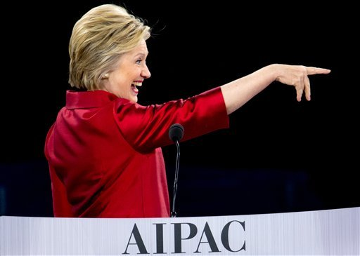 Democratic presidential candidate Hillary Clinton points after speaking at the 2016 American Israel Public Affairs Committee (AIPAC) Policy Conference, Monday, March 21, 2016, at the Verizon Center in Washington. (AP Photo/Andrew Harnik)