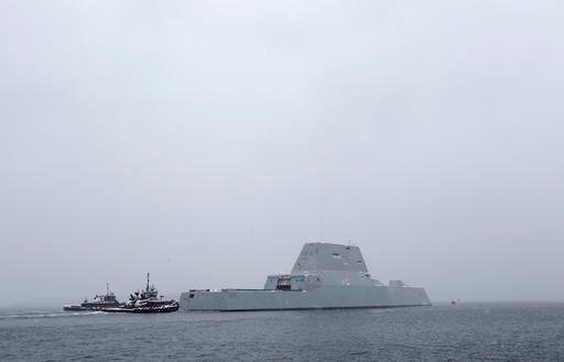 The USS Zumwalt, the Navy's new guided missile destroyer heads out to sea, Monday, March 21, 2016, in Phippsburg, Maine.