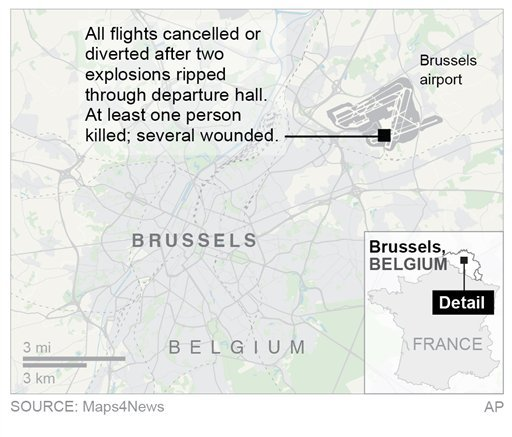 Map locates Brussels airport; 2c x 2 1/2 inches; 96.3 mm x 63 mm;