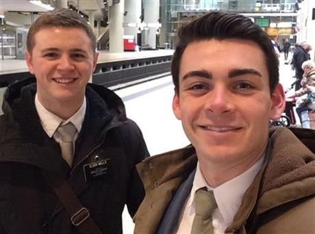 This undated photo provided by Chad Wells shows Mormon missionaries Mason Wells, 19, of Sandy, Utah, left, and Joseph Empey, 20, of Santa Clara, Utah. They both were injured in Tuesday's explosion at the Brussels airport.(Joseph Empey/Chad Wells via AP)