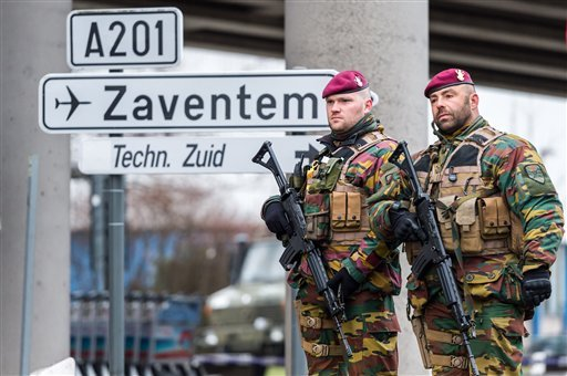 Belgian Army soldiers patrol at Zaventem Airport in Brussels on Wednesday, March 23, 2016.