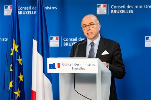 French Interior Minister Bernard Cazeneuve addresses the media during an extraordinary meeting of EU interior and justice ministers at the EU Council building in Brussels, Belgium, Thursday, March 24, 2016. Prosecutors announced a direct connection betwee