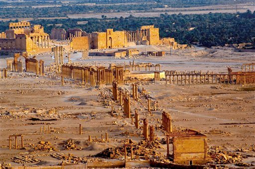 This undated photo released by the Syrian official news agency SANA, shows the site of the ancient city of Palmyra, Syria. Palmyra is an archaeological gem that Syrian troops took back from Islamic State fighters on Sunday, March 27, 2016. Syrian state me
