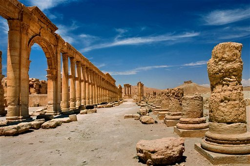 In this undated photo released by the Syrian official news agency SANA, shows the site of the ancient city of Palmyra, Syria. Palmyra is an archaeological gem that Syrian troops took back from Islamic State fighters on Sunday, March 27, 2016. Syrian state