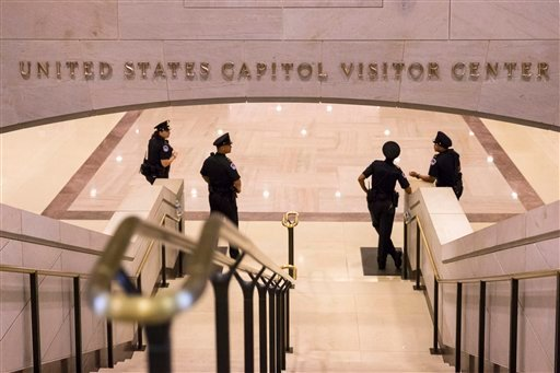 In this Oct. 7, 2013 file photo, the strairs leading to the Capitol Visitors Center on Capitol Hill in Washington. The U.S. Capitol Police are telling staff in the Capitol complex to shelter in place after a report of gunshots being fired in the Capitol V