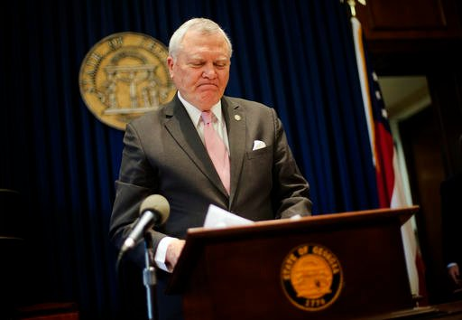 Georgia Gov. Nathan Deal speaks during a news conference as he announces he has vetoed legislation allowing clergy to refuse performing gay marriage and protecting people who refuse to attend the ceremonies Monday, March 28, 2016, in Atlanta. The Republic