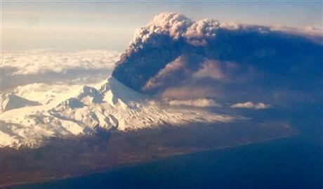 The Alaska Volcano Observatory says activity continued Monday. Pavlof Volcano is 625 miles southwest of Anchorage on the Alaska Peninsula, the finger of land that sticks out from mainland Alaska toward the Aleutian Islands. (Colt Snapp via AP)