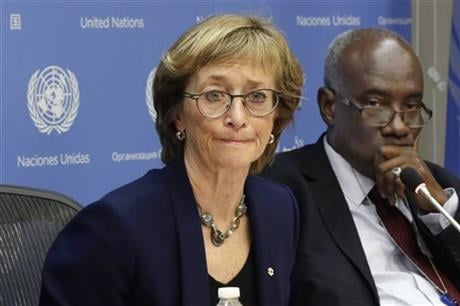 a U.S.-based advocacy group says 98 girls in Central African Republic have reported that they were sexually abused by international peacekeepers and that three girls told U.N. staff they were tied up, undressed and forced to have sex with a dog by a Fren
