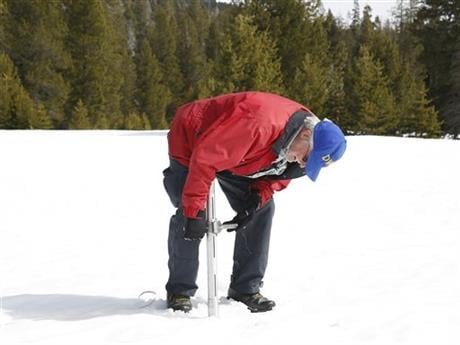 Frank Gehrke, chief of the California Cooperative Snow Surveys Program for the Department of Water Resources, checks the depth of the snowpack at Phillips Station near Echo Summit, Calif.
