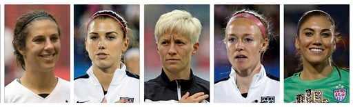 FILE - From left are file photos showing World Cup-winning national team women's soccer players Carli Lloyd, Alex Morgan, Megan Rapinoe, Becky Sauerbrunn and Hope Solo.