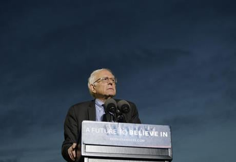 Democratic presidential candidate Sen. Bernie Sanders, I-Vt., pauses while speaking during a campaign rally at St. Mary's Park, Thursday, March 31, 2016, in the Bronx borough of New York. (AP Photo/Julie Jacobson)