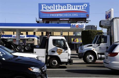 Several billboards scattered around Los Angeles look at first glance like ads for Sen. Bernie Sanders' presidential campaign, but they are actually part of an ad campaign by the AIDS Healthcare Foundation, urging anyone who might feel painful symptoms of