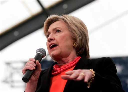 Democratic presidential candidate Hillary Clinton speaks during a rally in Syracuse, N.Y., Friday, April 1, 2016.