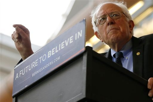 FILE - In this March 31, 2016 file photo, Democratic presidential candidate, Sen. Bernie Sanders, I-Vt. speaks at a campaign stop in Pittsburgh.