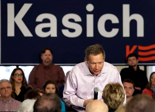 Republican presidential candidate, Ohio Gov. John Kasich responds to a question from the audience at a campaign stop at Veterans Terrace, Saturday, April 2, 2016, in Burlington, Wis. (AP Photo/Nam Y. Huh)