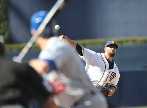 San Diego Padres starting pitcher Tyson Ross throws against the Los Angeles Dodgers' batter Chase Utley during the first inning of a baseball game Monday, April 4, 2016, in San Diego. (AP Photo/Lenny Ignelzi)