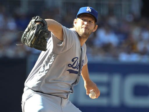 Los Angeles Dodgers starting pitcher Clayton Kershaw works against the San Diego Padres during the first inning of a baseball game Monday, April 4, 2016, in San Diego. (AP Photo/Lenny Ignelzi)