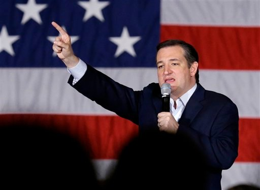 Republican presidential candidate, Sen. Ted Cruz, R-Texas, points as he speaks at a campaign stop at Waukesha County Exposition Center, Monday, April 4, 2016, in Waukesha, Wis.