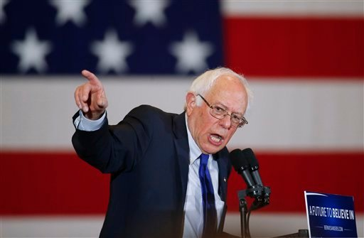 Democratic presidential candidate Sen. Bernie Sanders, I-Vt., speaks during a campaign event, Monday, April 4, 2016, in Milwaukee.